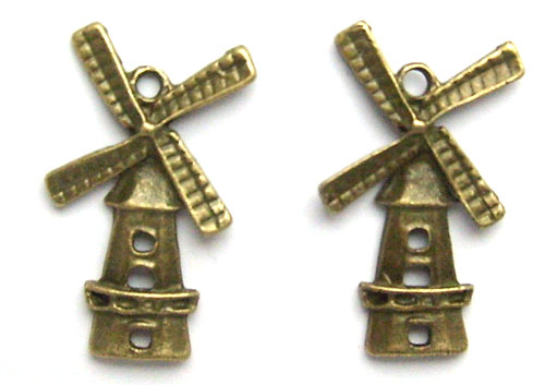 Lot de 2 breloques moulin bronze