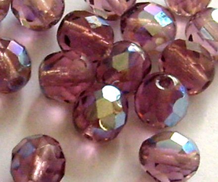 Lot de 20 perles à facettes 8mm light amethyst AB