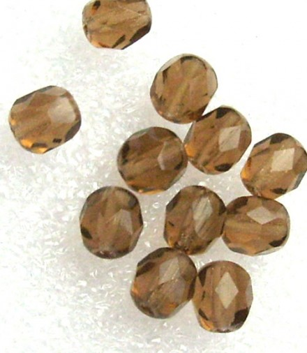 Lot de 20 perles à facettes 6mm light smoked topaz