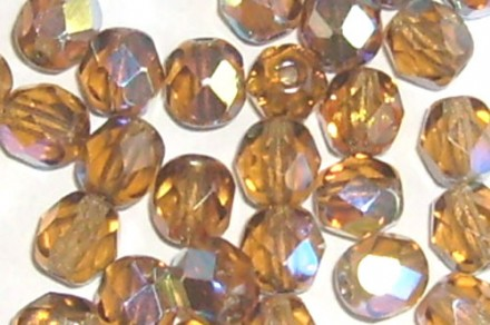 Lot de 20 perles à facettes 6mm light smoked topaz AB