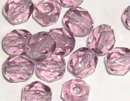 Lot de 20 perles à facettes 6mm light amethyst