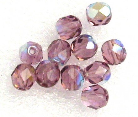 Lot de 100 perles à facettes 4mm light amethyst AB