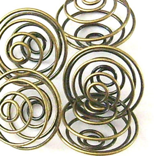 Lot de 10 cages spirales couleur bronze-or 18mm